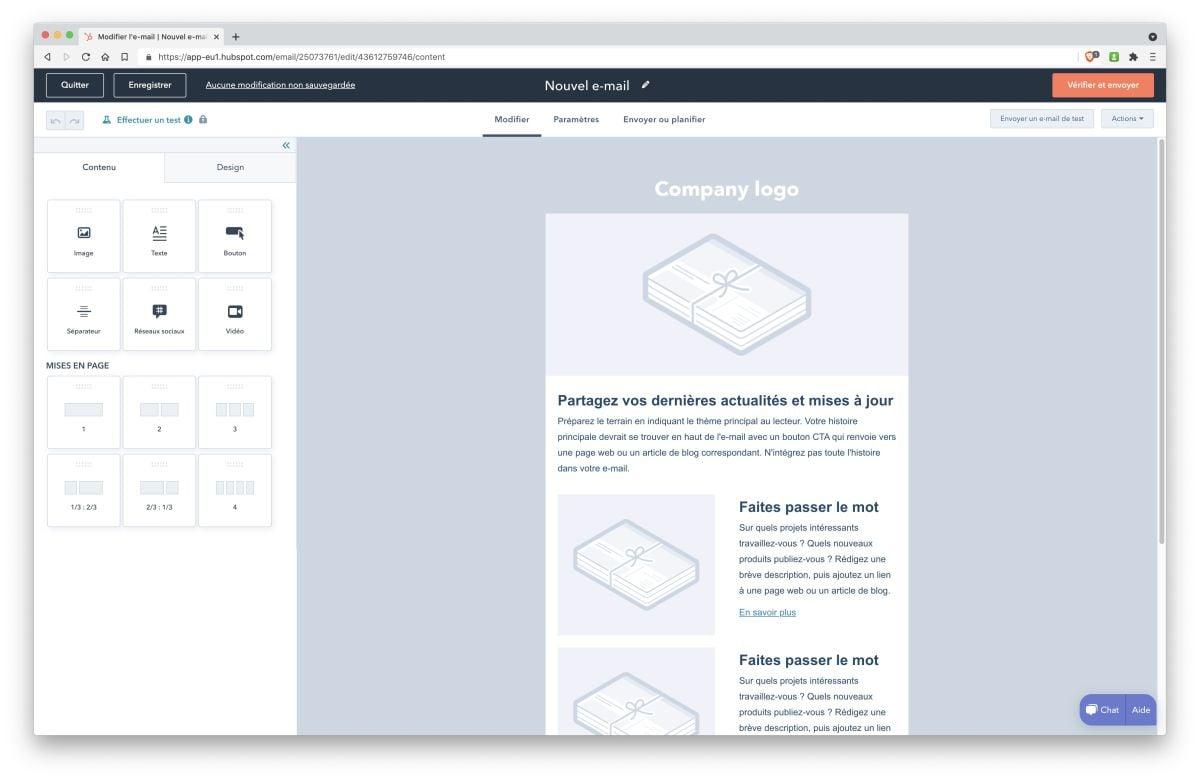 crm gratuit hubspot 4 module marketing creation newsletter
