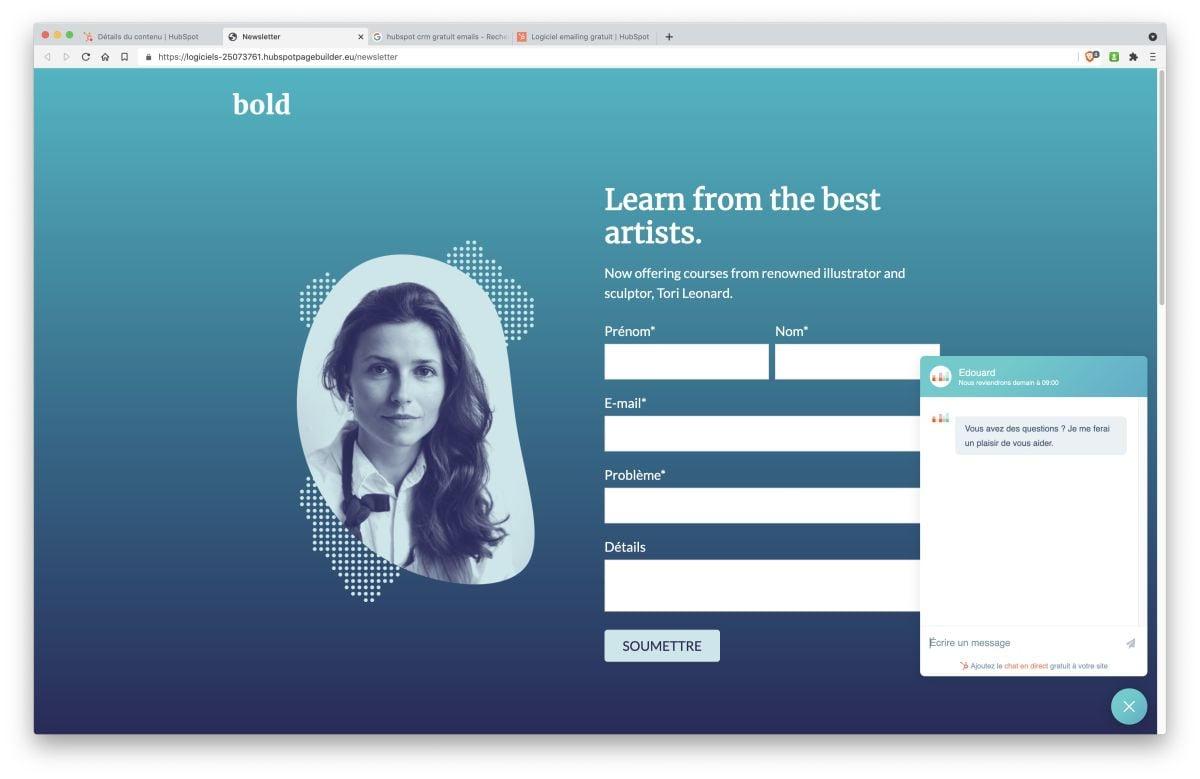 crm gratuit hubspot 5 module marketing landing page chatflow